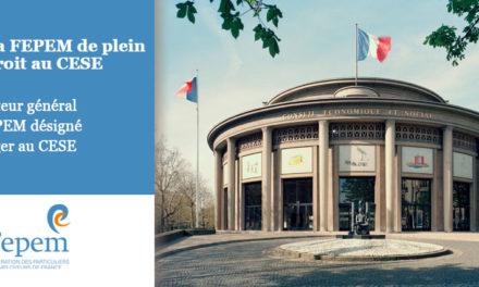 Le Directeur général de la FEPEM désigné pour siéger au CESE
