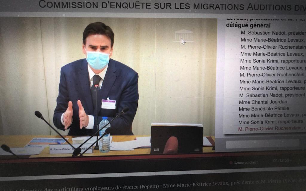 Marie Béatrice LEVAUX, Présidente de la FEPEM et Pierre-Olivier RUCHENSTAIN, Directeur général, auditionnés par la commission d'enquête sur les migrations à l'Assemblée nationale le 22 juillet.